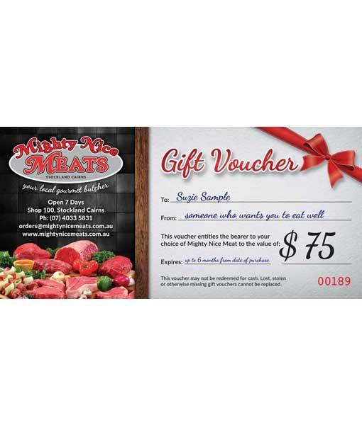 $75 fresh meat gift voucher
